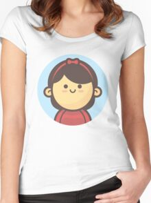 Mini Characters - Little Ribbon Hair Girl Women's Fitted Scoop T-Shirt