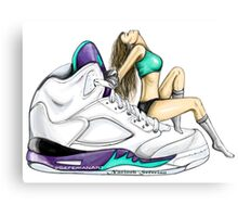 Grape 5 Jordan Girl Canvas Print
