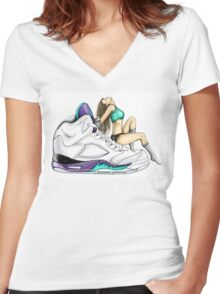 Grape 5 Jordan Girl Women's Fitted V-Neck T-Shirt