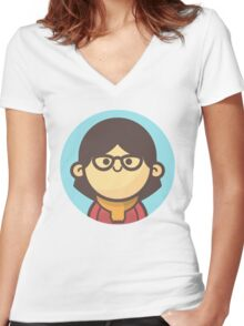 Mini Characters - Asian Girl3 Women's Fitted V-Neck T-Shirt