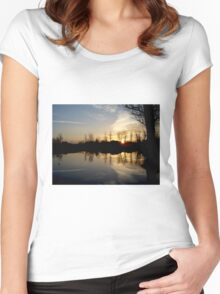 Lonely Tree During Sunrise - Nature Photography Women's Fitted Scoop T-Shirt