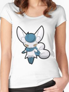 ♀ Female Meowstic - Pokemon Amie Thick Border Women's Fitted Scoop T-Shirt