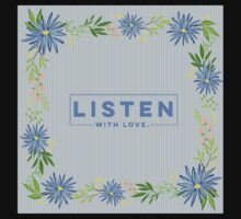Listen with love.blue,typography,cool text, flowers,garland,floral,hand painted One Piece - Short Sleeve