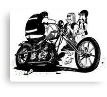 3 Bikers with Chopper Canvas Print