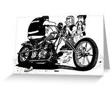 3 Bikers with Chopper Greeting Card