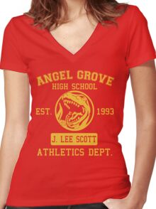 Angel Grove H.S. (Red Ranger Edition) Women's Fitted V-Neck T-Shirt