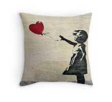Banksy's Girl with a Red Balloon III Throw Pillow