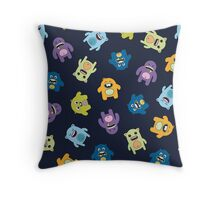 Seamless pattern with cute monsters. Throw Pillow