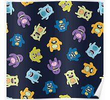 Seamless pattern with cute monsters. Poster