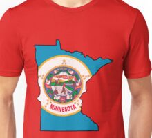 Minnesota Map with Minnesota State Flag Unisex T-Shirt