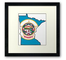 Minnesota Map with Minnesota State Flag Framed Print