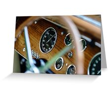 Beautiful retro car. Elegance and style of  first part of XX century. Details view. Greeting Card