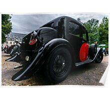 Beautiful retro car. Elegance and style of  first part of XX century. Details view. Poster