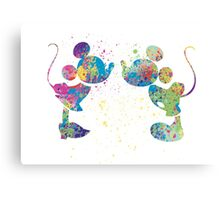 Watercolour Mickey and Minnie  Canvas Print