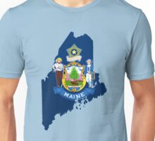 Maine Map with Maine State Flag Unisex T-Shirt