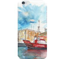 Red Boat In Cartagena Harbour iPhone Case/Skin