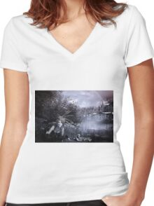 EVERYONE HIDES THEIR SKELETONS Women's Fitted V-Neck T-Shirt