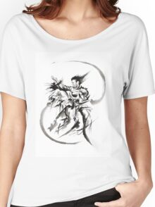 Aikido Martial Arts Large Poster Samurai Warrior Black and White Women's Relaxed Fit T-Shirt