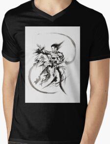 Aikido Martial Arts Large Poster Samurai Warrior Black and White Mens V-Neck T-Shirt