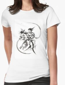 Aikido Martial Arts Large Poster Samurai Warrior Black and White Womens Fitted T-Shirt