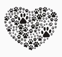 Dog Paws, Trails, Paw-prints, Heart - Black  Kids Clothes
