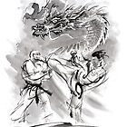 Karate kyokushinkai whit dragon poster by Mariusz Szmerdt