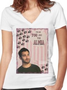 My Teenwolfed Valentine[You Are The Alpha] Women's Fitted V-Neck T-Shirt