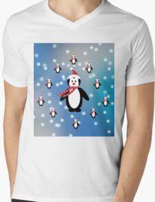 Many Penguins Mens V-Neck T-Shirt