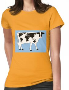 Map of the World Cow Womens Fitted T-Shirt