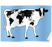 Map of the World Cow Poster