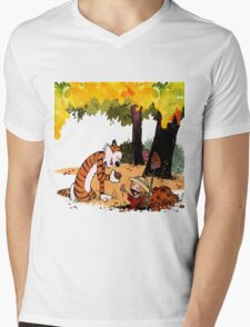 Calvin and Hobbes Treasure Hunter Mens V-Neck T-Shirt