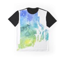 Watercolor Map of Rhode Island, USA in Blue and Green - Giclee Print of My Own Watercolor Painting Graphic T-Shirt