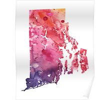 Watercolor Map of Rhode Island, USA in Orange, Red and Purple - Giclee Print of my Own Painting Poster
