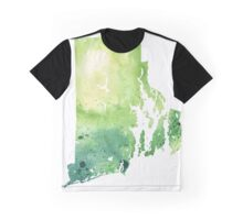 Watercolor Map of Rhode Island, USA in Green - Giclee Print My Own Watercolor Painting Graphic T-Shirt