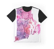 Watercolor Map of Rhode Island, USA in Pink and Purple - Giclee Print of My Own Watercolor Painting Graphic T-Shirt