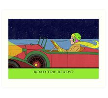 Road Trip Ready, Driving at Night Art Print