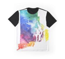 Watercolor Map of Rhode Island, USA in Rainbow Colors - Giclee Print of My Own Watercolor Painting Graphic T-Shirt