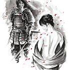 Samurai and Girl Cherry Blossom Large Poster by Mariusz Szmerdt
