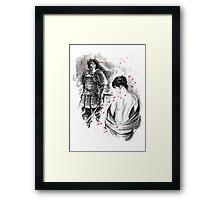 Samurai and Girl Cherry Blossom Large Poster Framed Print