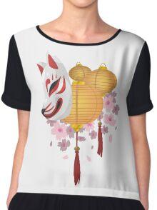 Festive Kitsune Chiffon Top