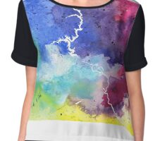 Watercolor Map of South Dakota, USA in Rainbow Colors - Giclee Print of My Own Watercolor Painting Chiffon Top