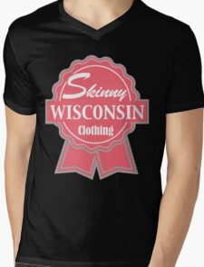 Wisconsin Skinny Pink Badge of Honor Mens V-Neck T-Shirt