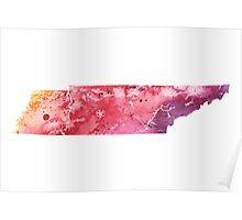 Watercolor Map of Tennessee, USA in Orange, Red and Purple - Giclee Print of my Own Painting Poster