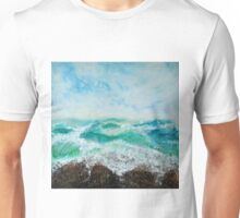 Original Contemporary Encaustic painting on Gallery profile canvas, ocean storm sea waves stormy blue nautical artwork Unisex T-Shirt