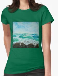 Original Contemporary Encaustic painting on Gallery profile canvas, ocean storm sea waves stormy blue nautical artwork Womens Fitted T-Shirt