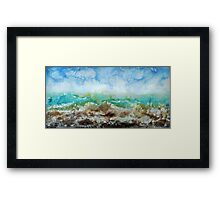 Original Contemporary Encaustic painting on Gallery profile canvas, ocean storm sea waves stormy blue nautical artwork Framed Print