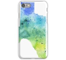 Watercolor Map of Texas, USA in Blue and Green - Giclee Print of My Own Watercolor Painting iPhone Case/Skin