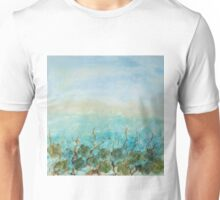 Original Contemporary Encaustic painting blue yellow floral flowers mixed media turquais minimalistic abstract Unisex T-Shirt
