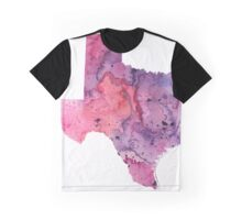 Watercolor Map of Texas,USA in Pink and Purple - Giclee Print of My Own Watercolor Painting Graphic T-Shirt