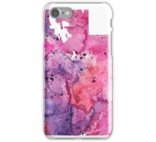 Watercolor Map of Utah,USA in Pink and Purple - Giclee Print of My Own Watercolor Painting iPhone Case/Skin